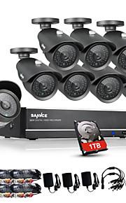 sannce® 8-kanaals CCTV-systeem 960H 1TB dvr 8 stuks 1000tvl ir weerbestendig outdoor cctv camera binnenlandse veiligheid surveillance kits