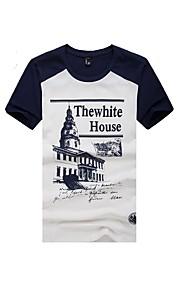 Tee-Shirt Décontracté Pour des hommes Manches Courtes Lettre Coton
