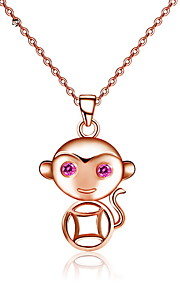 Cute 18K Rose Gold Plated Monkey Classic Necklace Real 925 Silver Coin Pendant Link Chain Women Animal Jewelry