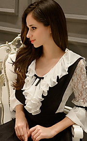 Women's Color Block White Blouse,Ruff Collar ½ Length Sleeve