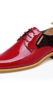 Homme-Mariage Bureau & Travail Soirée & Evénement-Noir Rouge-Talon Plat-Confort chaussures Bullock Chaussures formelles-Oxfords-Cuir
