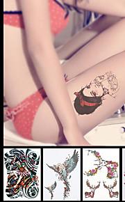 8PCS Temporary Tattoos Waterproof DIY Decal Beauty Women Men Body Back Leg Art Flower Sticker Wing Animals Design