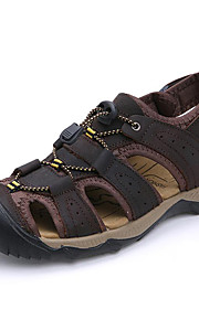 Men's Shoes Nappa Leather Outdoor / Casual Sandals Outdoor / Casual Sport Sandals Flat Heel Big Size Taupe