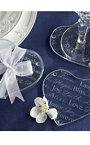 Hjerteformet / Bilde-beskyttere-COASTER(Hvit,Glass)