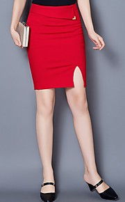 Women's Solid Blue / Red / Black Skirts,Work / Casual / Day Knee-length