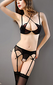 Women Sexy Halter Straped Gartered Lingerie Nightwear,Nylon / Polyester Without Stockings
