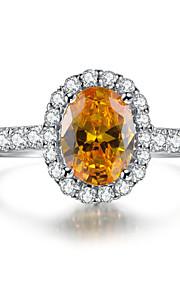 6 * 8mm ovale Form Diamant-Ring Engagement goldene Farbe sona Diamant-Sterlingsilber halb Gehäuseflanscheinstellungen Mikro gepflastert