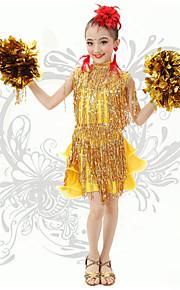 Latin Dance Children's Cute V Neck Performance Spandex Sequins / Tassel(s) Dresses