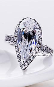 7 * 9mm 2ct Birnenform Diamant-Ring für Frauen Sterling Silber Schmuck weiblichen Halogen Engagement ausgezeichnete Tropfen Schnitt Ring