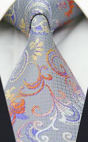 Men's 100% Silk  Tie Silver Floral Business Necktie