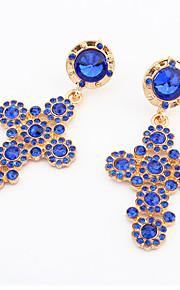 Fashion Simple Cross Blue Crystal Rhinestone Earrings