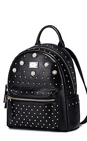NUCELLE Real Genuine Leather Backpack Bag School Travel Punk Rivet Rhinestone Pearl Flowers