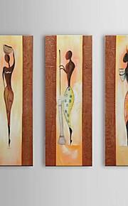 käsinmaalattu afrikkalainen muotokuva öljyvärimaalaus kankaalle 3kpl / asettaa seinälle rahtuakaan runko