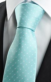 KissTies Men's Mint Blue Dot Necktie Wedding Party Casual Tie With Gift Box