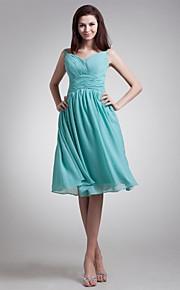 Knee-length Chiffon Bridesmaid Dress A-line V-neck with Sash / Ribbon / Side Draping