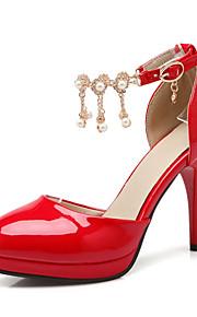 Chaussures Femme-Mariage / Habillé / Décontracté / Soirée & Evénement-Noir / Rouge / Amande-Talon Aiguille-Talons-Talons-Cuir Verni