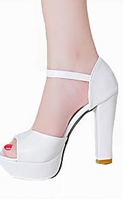 Синий / Розовый / Белый-Женская обувь-Для офиса / Для праздника / На каждый день-Дерматин-На шпильке-На каблуках-Сандалии