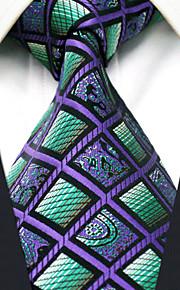 Men's100% Silk  Tie Purple  Checked  Necktie Jacquard Woven