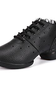 Для женщин-Кожа-Не персонализируемая(Черный / Белый) -Танцевальные кроссовки