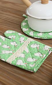 katoen keuken koken met konijn stijl magnetron handschoenen wanten 1pc pad en 1pc handschoen