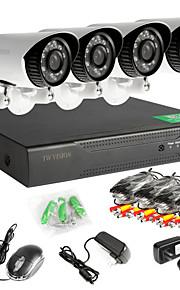 8-kanals 960h netværk dvr 4stk AHD udendørs CCTV overvågningskameraer systemet