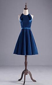 Knee-length Stretch Satin Bridesmaid Dress A-line Jewel with