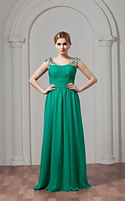 Floor-length Chiffon Bridesmaid Dress A-line Straps with Crystal Detailing / Pleats