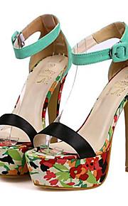 Зеленый / Оранжевый-Женская обувь-Для вечеринки / ужина-Дерматин-На шпильке-На каблуках-Сандалии