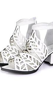 Черный / Белый-Женская обувь-Для прогулок / На каждый день-Дерматин-На толстом каблуке-На каблуках-Сандалии