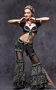 American tribal style Belly Dance Outfits Women's Performance Lace /  MetalCrystals/ Paillettes / Pattern / Ruffles