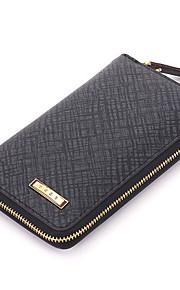 Fine Men's Genuine Leather Clutch Bag Brown/Gray Wallets