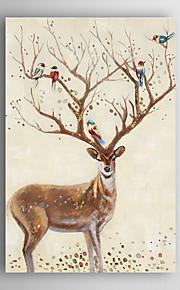 håndmalte oljemaleri dyr dekorert hjort og fugler med strukket ramme 7 veggen arts®