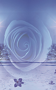 JAMMORY Mural Art Deco Wallpaper Contemporary Wall Covering,Canvas Yes Large Mural Blue Rose Background Snow Village