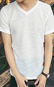 Katoen-Ruitjes-Heren-T-shirt-Informeel / Werk / Formeel / Sport-Korte mouw