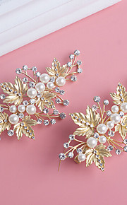 Donne / Bambina Perle / Strass / Lega Copricapo-Matrimonio / Occasioni speciali / Formale Fermacapelli 2 pezzi