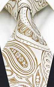 Men's 100% Silk  Tie Paisley Yellow  Business Necktie