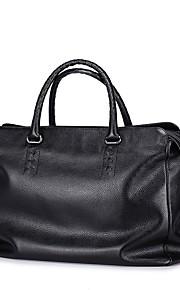 SAMMONS Men's Real Genuine Cowhide Leather Purse Satchel Shoulder Hand Bag Travel Weekender Outdoor Casual Tote -Black