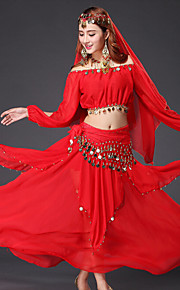 Belly Dance Outfits Women's Performance Chiffon Gold Coins / Sequins 4 Pieces Light Blue / Red / Yellow