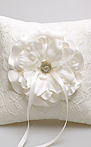 Ring Pillow Satin / Lace Beach Theme / Floral ThemeWithRhinestones / Petals