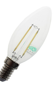 2W E14 LED-lysestakepærer C35 2 COB 180 lumens lm Naturlig hvit Dekorativ AC 220-240 V 1 stk.