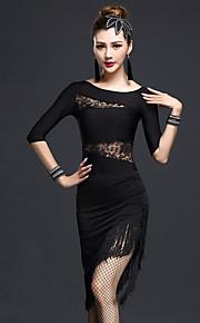 Latin Dance Outfits Women's Sexy Slim Performance Chinlon / Nylon Lace / Tassel(s) 2 Pieces Dance Costumes