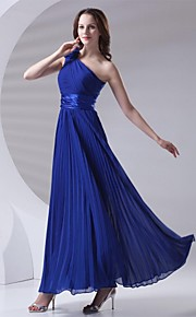 Ankle-length Chiffon Bridesmaid Dress A-line One Shoulder with Draping / Flower(s) / Pleats