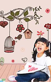 Originality DIY Wall Decor Warm Birdcage With Flower Wall Sticker Fashion Home Decor