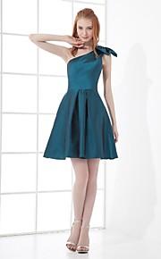 Short / Mini Taffeta Bridesmaid Dress A-line One Shoulder with Bow(s)