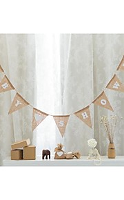Chic Shabby 18*14CM Baby Shower Hessian Burlap Rustic Vintage Banner Bunting