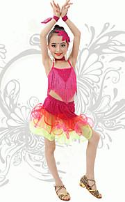 Latin Dance Children's Performance Spandex Strap Sequins / Tassel(s) Outfits Fuchsia