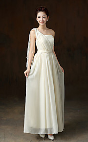 Ankle-length Chiffon / Satin Bridesmaid Dress A-line One Shoulder with Side Draping