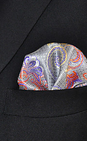 Men Paisley Gray 100% Silk  Pocket Square Business