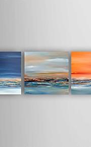 Maalattu Abstrakti Moderni,3 paneeli Kanvas Hang-Painted öljymaalaus