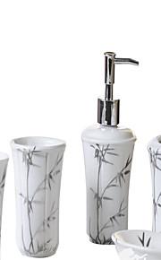 plata baño de bambú patrón de cinco piezas traje + Caja